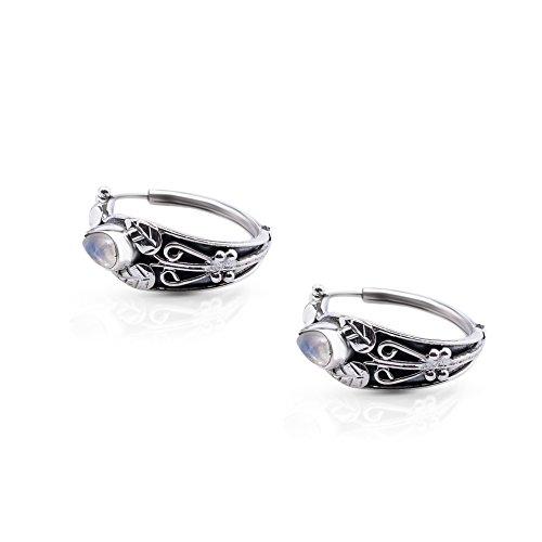 Moonstone Vintage Earrings (Moonstone Vintage Hoop Earrings Sterling Silver 925 Gipsy Boho Chic)