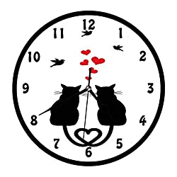 YiiHaanBuy Cats in Love with Heart Shaped Tails Birds Animal Silhouettes Valentines Theme,Red Black White.Home,Office,Bedroom,Uniquely Decorated Quartz Wall Clock.10 inch