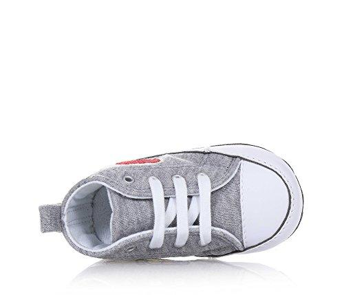 Converse Grauer Schuh für Die Wiege mit Schnürsenkeln, Aus Stoff, Seitlich und auf der Sohle ein Logo, Baby Mädchen