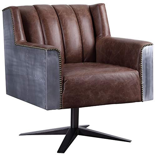 ACME Furniture 92553 Brancaster Executive Office Chair Retro Brown Top Grain Leather and Aluminum