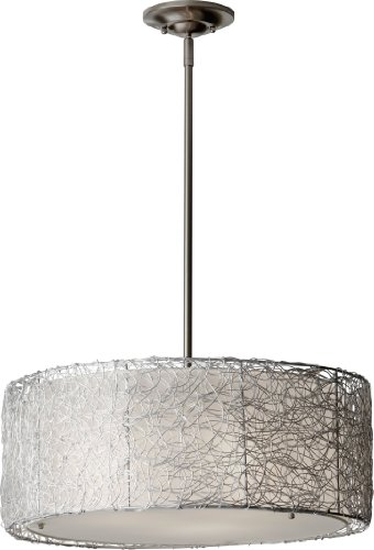 (Feiss F2702/3BS Wired Fabric Shade Drum Pendant Lighting, Satin Nickel, 3-Light (20