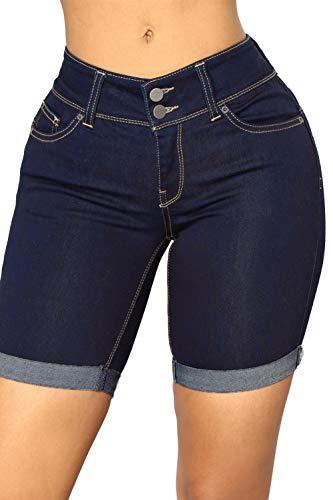 VIGVOG Women's Juniors Mid Rise Denim Cotton Bermuda Shorts Stretchy Jeans Short (M(27-28), Dark Blue)