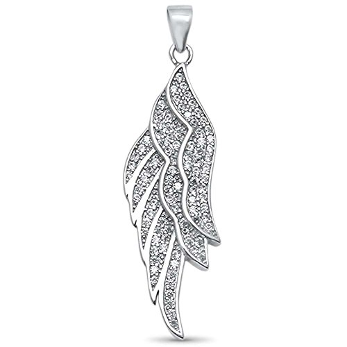 Sterling Silver Cubic Zirconia Angel Wing Pendant 1.7