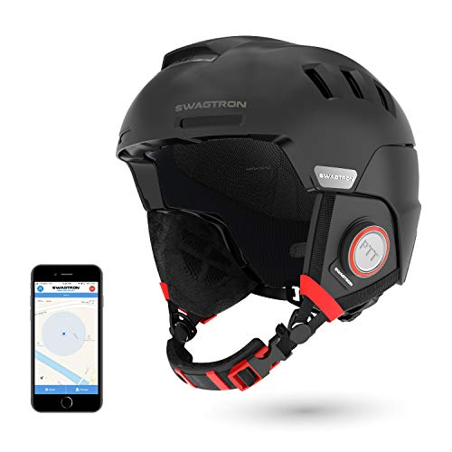 Swagtron Snowtide Bluetooth Ski & Snowboard Helmet with Audio, SOS Alert, Walkie-Talkie/Push-to-Talk (Unlimited Range) & More (Black)