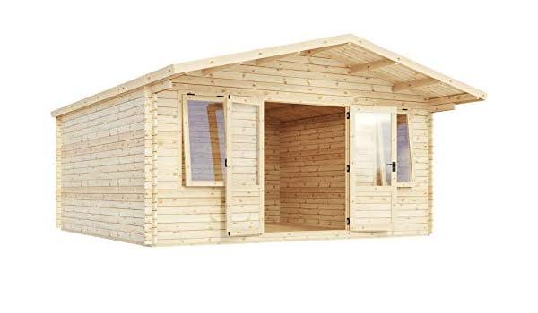 Green Planet UK - Cabina de leña (5 m x 5 m, para Invernadero, jardín u Oficina), Madera de Origen FSC, Revestimiento de 34 mm, Puertas Dobles, Cristal de Seguridad de un