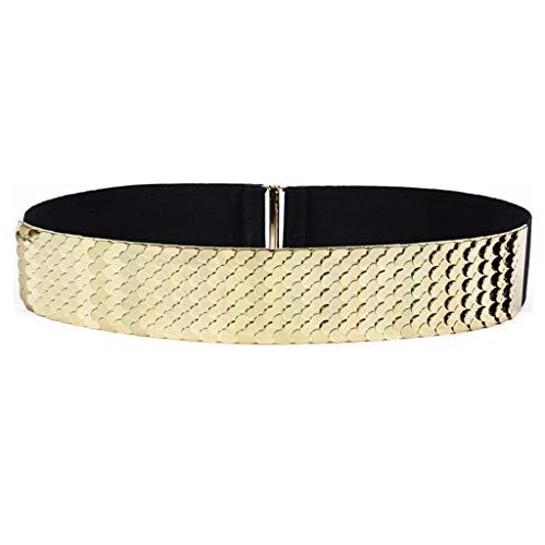 - Women Metallic Scale Belt, Shiny Wide Stretch Waist Dress Belt (Fits Wasit 35''-38'', Gold)