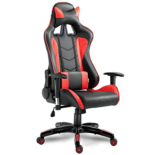 "lunanice Chair Red 27.2""(L)×25.6""(W)×51""(H) Backrest's Adjustable Angle up to 175 Degrees Home Office Board Room Games Room High Back Executive Racing Reclining Gaming 360 Degree Swivel PU Leather Uncategorized"
