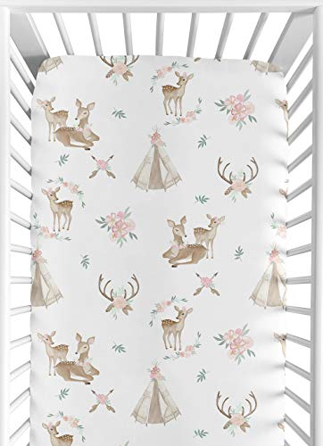 Sweet Jojo Designs Blush Pink, Mint Green and White Boho Baby or Toddler Fitted Crib Sheet for Woodland Deer Floral Collection
