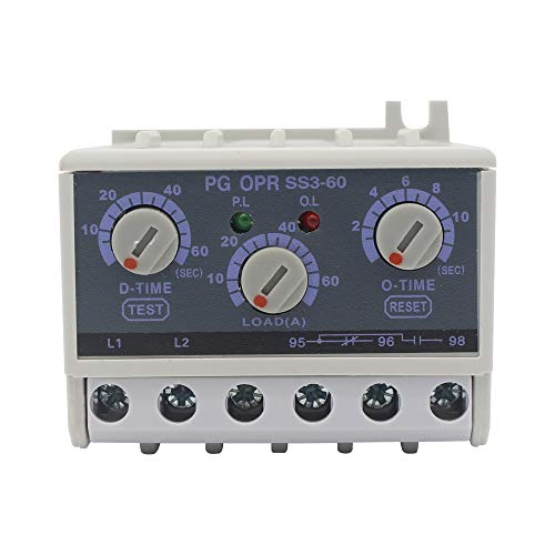 PG OPR SS3-06 5-60A lectronic Overload Relay Phase Loss Protection Relay independently Adjustable Starting Trip delay ()