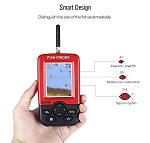 Portable Fish Finder, NACATIN Fishfinder with Portable Fish Finder, Fishfinder with Wired Sonar Sensor Transducer and LCD Display