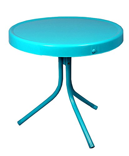 Cheap LB International Outdoor Retro Metal Tulip Side Table, Turquoise Blue