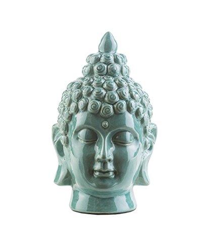 "Diva At Home 7.5"" Buddha Head Wasabi Green Glossy Decorative Table Top Statue"