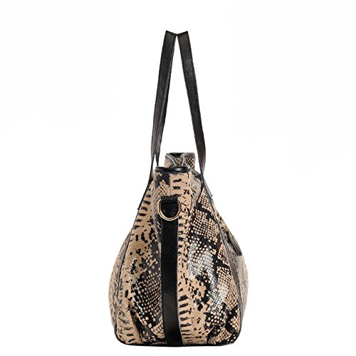 Aibag Ladies Casual Serpentine Cow Genuine Leather Purse Tote Hobo Cross Body by AIBAG (Image #2)