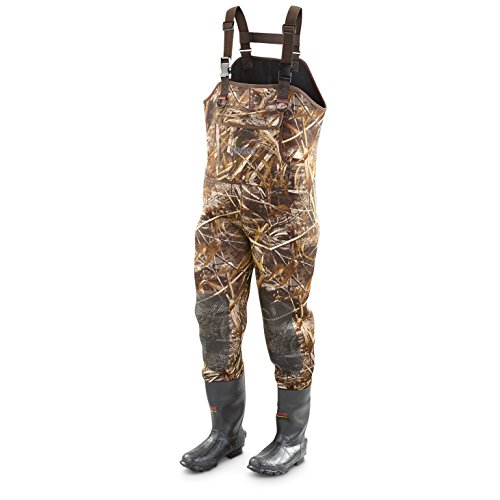 Guide gear men 39 s camo hunting chest waders insulated for Fishing waders amazon