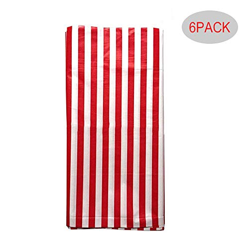 Plastic Picnic Party Tablecloth,6 Pack Plastic Picnic Tablecloth 54 Inch. x 108 Inch. Rectangle Table Cover (Red White Stripe)]()