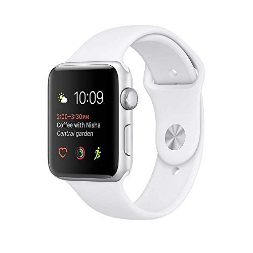 Apple Watch Series 2 Smartwatch 38mm Silver Aluminum Case White Sport Band (Renewed) by Apple