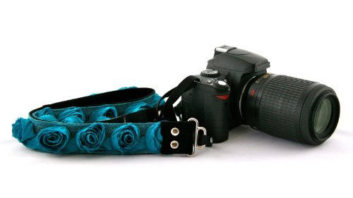 Organza Floral Camera Strap ~ DSLR or Mirrorless Camera (Turquoise) by Capturing Couture