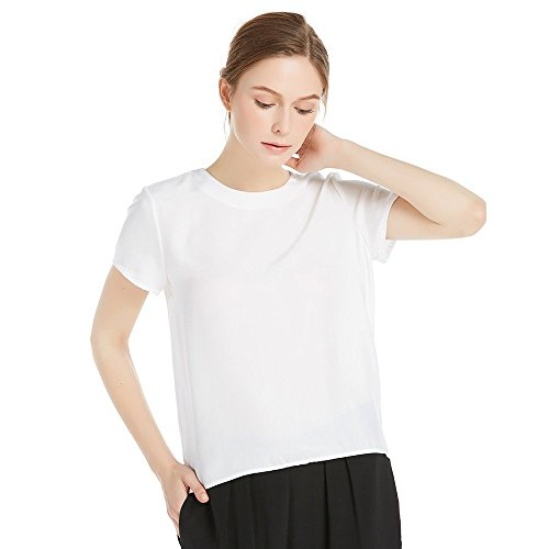 LilySilk White Silk Blouses for Women Short Sleeve 100 Pure Mulberry 22 Momme Ladies Silk Tops Button Slit Back Closure ()