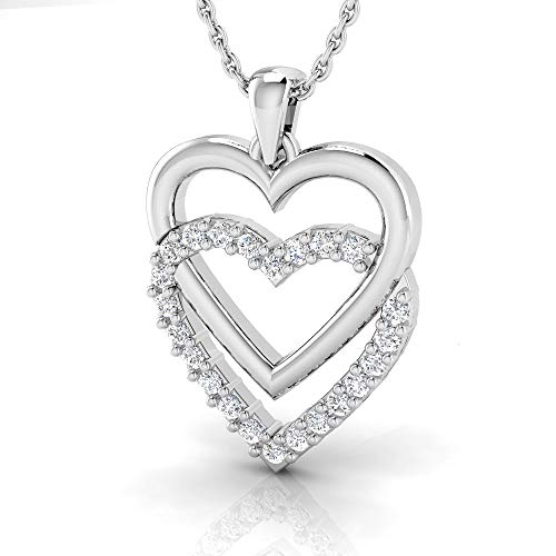 IGI Certified 1/4 Carat Natural Diamond Sterling Silver Double Heart Pendant with Chain for Women (I-J Color, I2-I3 Clarity)