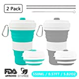 Crenics Collapsible Travel Cup - 2 Pack Silicone Folding Camping Cup Sport Bottle with Lids - Expandable Scald-Proof Drinking Cup - Portable Bottle with 2 Stainless Steel Straws and 1 Straw Brush