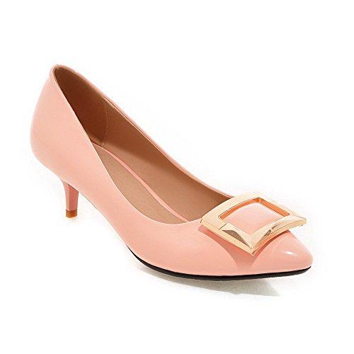 Damen Niedriger Absatz PU Eingelegt Ziehen auf Schließen Zehe Pumps Schuhe, Weiß, 34 AgooLar