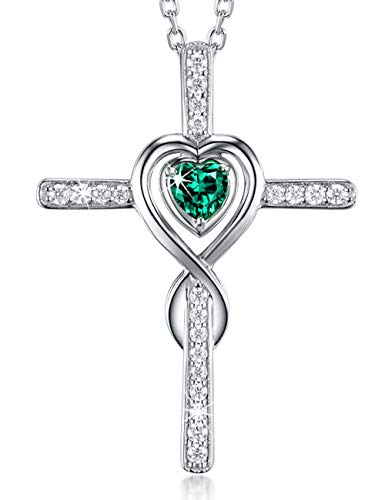 Created Emerald Cross - Dorella Love Heart Infinity Cross Necklace for Women Created Green Emerald Fine Jewelry Anniversary Birthday Gifts for Her Wife Girlfriend Grandma Sterling Silver Pendant 18