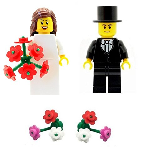 LEGO Bride with Bouquet and Groom (with bowtie) Minifigures with Extra...
