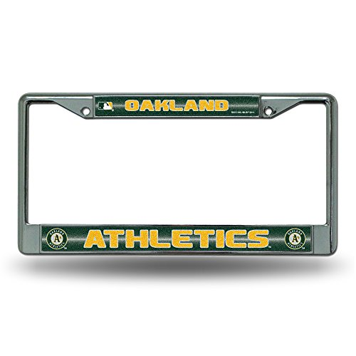 Rico MLB Oakland Athletics Bling License Plate Frame, Chrome, 12 x 6-Inch ()