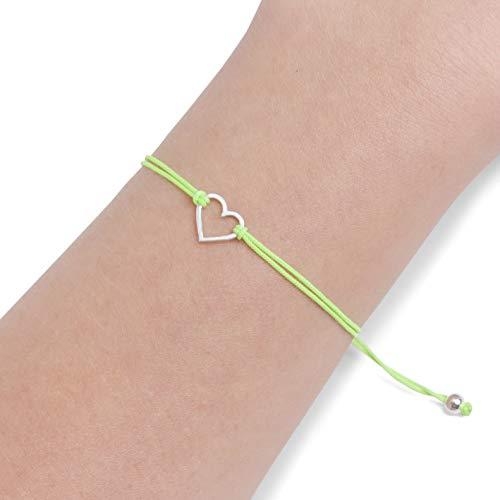Lime Green, Womens Friendship Bracelet, Small Handmade Sterling Silver 925 Open Heart Shaped Charm, Pull Adjustable Kindred Cord Thread. Perfect Romantic Gift