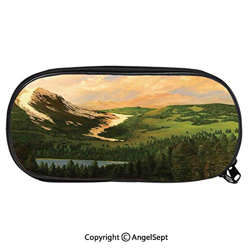 Kid School Pencil BagRural Scenery in The Valley with Cloudy Sky on Northern Lands Lake Mod Nature Painting Cute Printing Pen Case Adult Office Accessories Pencil HoldersGreen Ecru