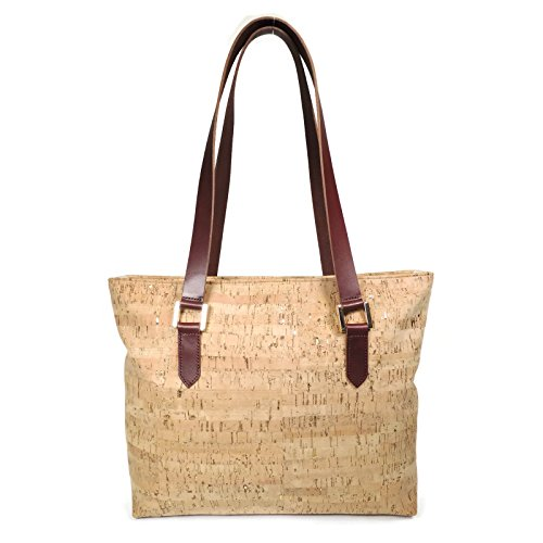 Cork Leather Zip Top Tote Purse with Gold Flecks by Spicer Bags by SPICER BAGS