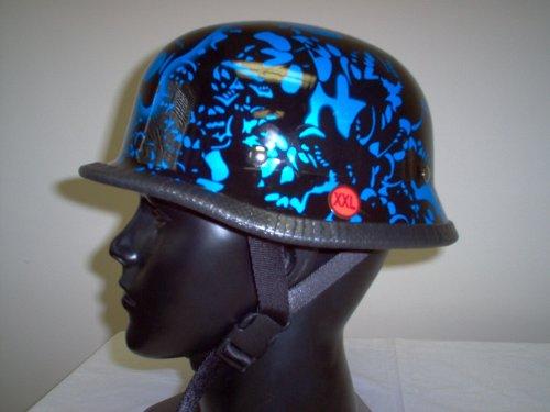 German Blue Boneyard Skull Novelty Helmet Large