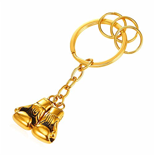 Men's Key Accessories 18K Gold Plated Boxing Gloves Charm Keychain Keyrings (1 main keyring + 3 detachable rings) by U7