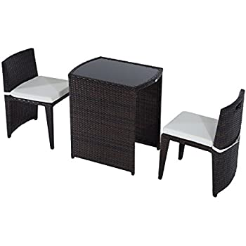 Amazoncom Outsunny 3 Piece Chair and Table Rattan Wicker Patio