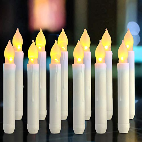 Homemory 12PCS Flameless LED Taper Candles Lights, 0.79 x 6.5 Inch, Battery Operated Tapered Candles with Warm Yellow Flickering Flame -