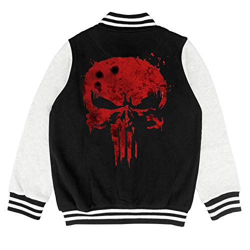 Price comparison product image Red-Blood-pop-Punisher- Kids Varsit Premium Baseball Jacket for 2-10 Y