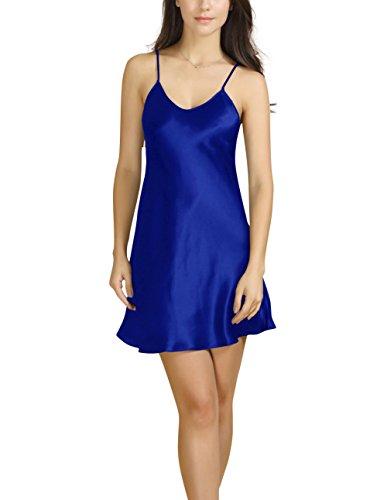Bel Avril Ropa de Dormir para Mujer, Lencería Satén Camisón Pijama Ropa de Dormir simple Talla de S a XXXL Azul Marino