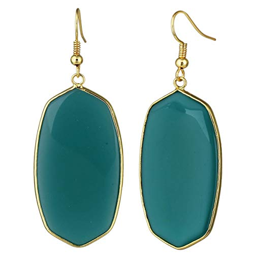 TUMBEELLUWA Crystal Quartz Stone Dangle Hook Earrings Oval Gold Plated, Green Crystal