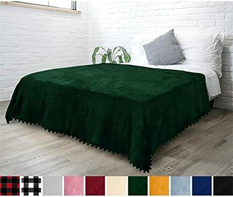 Machine Washable Fuzzy 60 x 80 Inches Plush Super Soft Lightweight Microfiber Polyester Cozy Black Flannel Throw PAVILIA Fleece Throw Blanket with Pom Pom Fringe