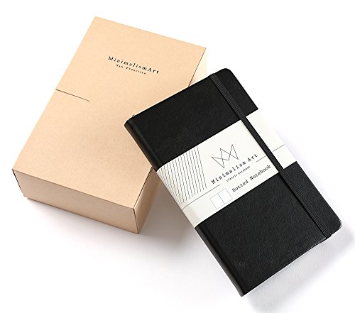 Minimalism Art, 3-Pack Classic Notebook Journal, A5 Size 5 X 8.3 inches, Dotted Grid Page, 192 Pages, Hard Cover,Fine PU Leather, Inner Pocket, Quality Paper-100gsm, Designed in San Francisco (Black)
