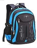 DULEE Girls Boys Waterproof School Bag Backpack Travel Bags Book Bag 6-12 Years Old (Black/Large)