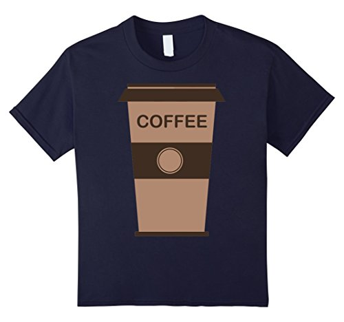 [Kids Coffee Cup Costume Shirt Roasted Beans Brewed Drink Beverage 12 Navy] (Famous Couples Costumes)