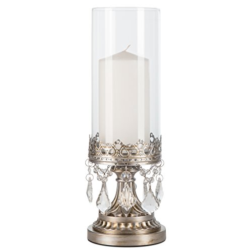 Crystal Hurricane (Amalfi Decor Antique Silver Metal Candle Holder with Glass Hurricane Vase, Crystal Draped Pillar Stand Accent Display)