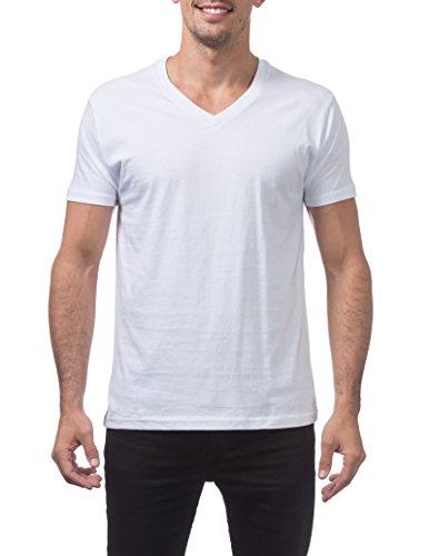 White T-shirt Club (Pro Club Men's Lightweight Ringspun Cotton Short Sleeve V-Neck T-Shirt, Large, Snow White)