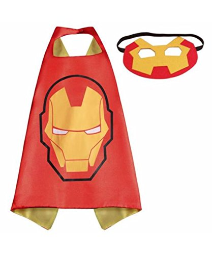 Ironman Superhero Cape and Mask Set Halloween Pretend Play Double Sided 70 cm x 70 cm