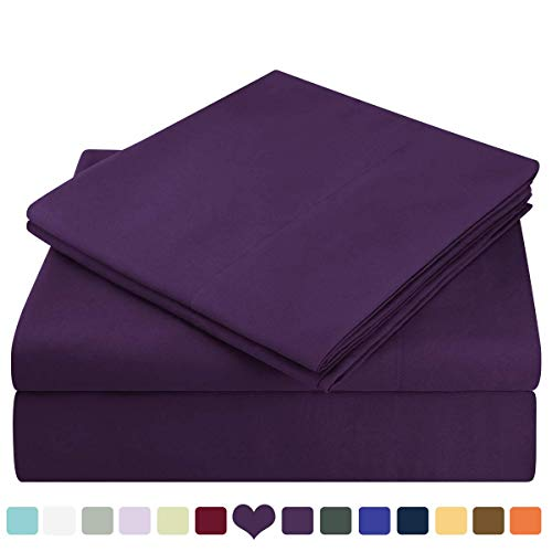 HOMEIDEAS Bed Sheets Set Extra Soft Brushed Microfiber 1800 Bedding Sheets - Deep Pocket, Hypoallergenic, Wrinkle & Fade Free - 4 Piece(Queen,Purple) (Best Timeshares To Own)