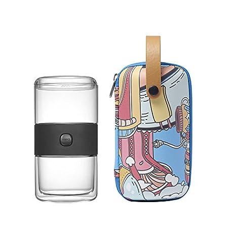 Teekanne to go doppelwandig Teeflasche Teekanne & Tasse Set aus Glas mit Edelstahl Sieb Tragetasche für Reise Picknicks Camping Unterwegs Geschenkidee von ZENS, Blau D5500234-AZENS