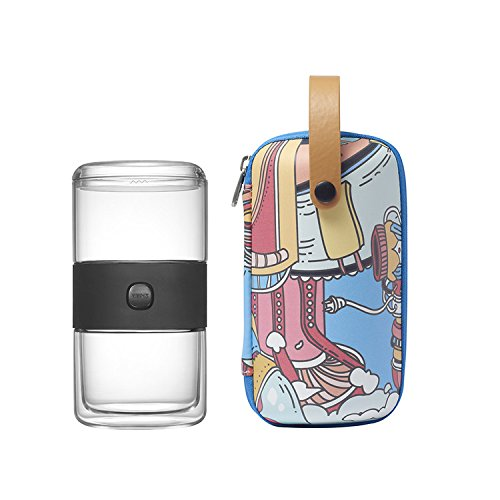 ZENS Lifestyle Portable Glass Travel Tea Set, Teapot with PC Lid, Stainless Steel Infuser, Double Wall Cup, Blue Spacecraft Pattern EVA Tote Bag for Indoor & Outdoor Picnic, Perfect Gift Idea