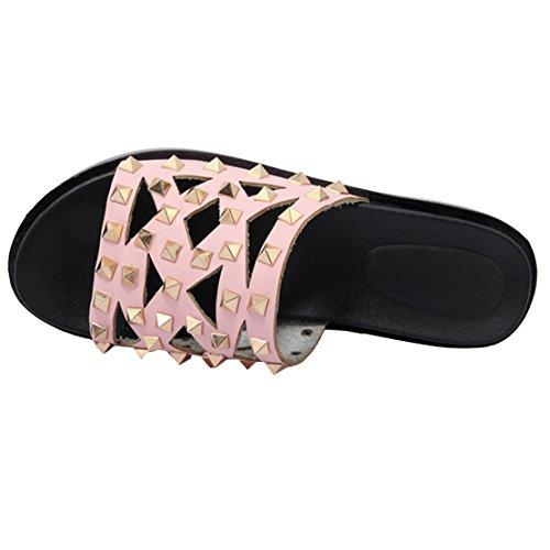 Open AIYOUMEI Back WoMen Slippers Pink 60qXTW