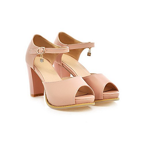 AllhqFashion Womens Pu Solid Buckle Peep Toe High Heels Sandals Pink qD22JHgf